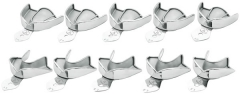 Porte-empreintes non perforés inox Le set assorti de 10 porte-empreintes assortis (5 hauts et 5 bas). Kent Dental 167624